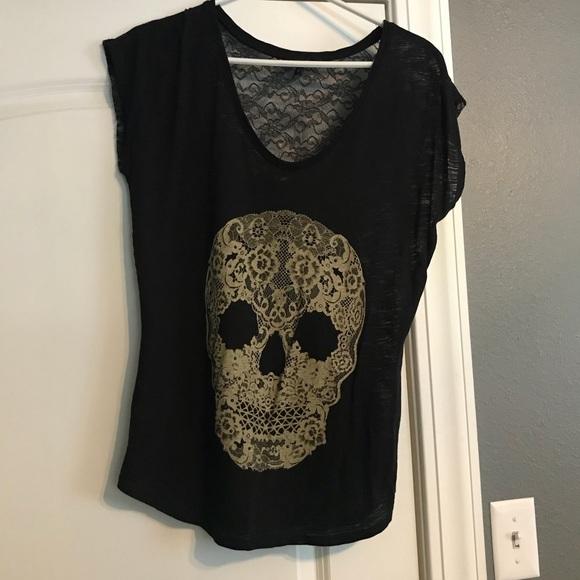 Express Tops - Embellished Skull Top